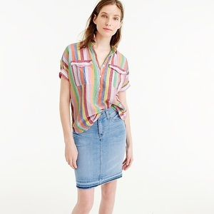 J. Crew Linen Top in Candy Stripe size 0